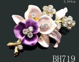 Wholesale Painting Plants - Wholesale hot sale painting zinc alloy rhinestone flower girl brooch fashion jewelry Free shipping 12pcs lot mixed color BH719