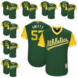 Wholesale Baseball Rock - 2017 Men's Oakland Athletics 31 Slydah 45 Squeaky 47 Montas 56 Rock n Fire 57 Smitty 11 Raj 26 Chappy Players Weekend Baseball Jerseys