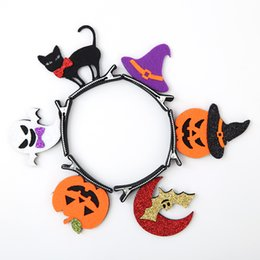 Wholesale Spider Clip - New 6 Design Girls Halloween Pumpkin Hairpins Barrettes Children Spider Hair Accessories Barrett Princess Layered Bow Hair Clips A7274