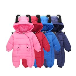 Wholesale Winter Down Baby Jumpsuits - Winter Baby Rompers Overalls Clothes Jumpsuit Hooded Newborn Girl Boy Duck Down Snowsuit Kids Infant Warm Snow Wear Onepiece