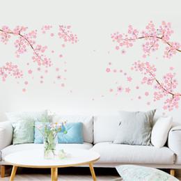Extra Large Rose Fleur De Prunier Fleurs Arbre Branches Stickers Muraux Pour Salon TV Fond Décor Amovible PVC Mur Applique Maison Deocr ? partir de fabricateur
