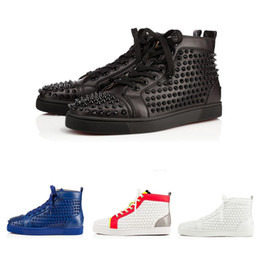 Wholesale Patent Prints - 2017 Wholesale AAA+ Quality Luxury Brand Men High Black Wire Mesh With Spikes Casual Shoes Women Red Bottom Sneakers,Unisex Flat Shoes