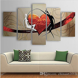 Wholesale Modern Abstract Wall Paintings - 5 Pieces Pure Hand Painted Abstract Heart Oil Painting on Canvas Modern Home Wall Art Decoration Gift