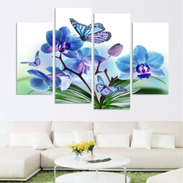 Wholesale Orchid Flower Oil Painting - wholesale Beautiful butterfly orchid flowers printed on canvas for living room home decor wall art oil painting no frame h 043