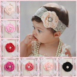 Wholesale Silk Ribbon Flower Buds - Hot Sale New Arrival Cute Girl Headband Bud Silk Ribbon Flowers Inlaid With Pearls Free Shipping