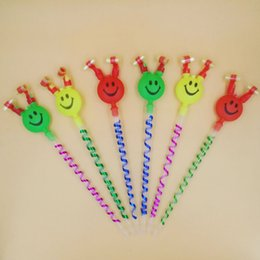 Wholesale Plastic Toy Makers - Large Dragon Whistle Smile Face Blow Out Dragons Roll Stall Toys Plastic Whistles Factory Direct Sale 0 48fq B R