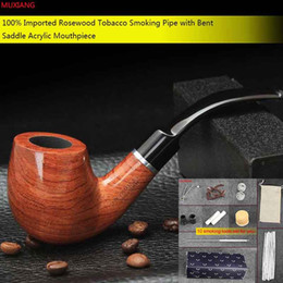 Wholesale Decorating Piping - High Quality Bent Type Wooden Smoke Pipe Smoking a Tobacco Pipe Fit with 9mm Filter Smoking Pipes Tool Decorated with Silvery Ring ad0009