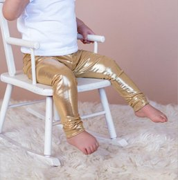 Wholesale Shiny Cotton Leggings - NWT INS hot baby toddler Kids Girls Faux Leather Tights Leggings Shiny Silver Gold Golden Tight pants babies clothes children's clothing