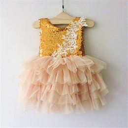 Wholesale Tutu Double Color - Christmas Babies Tulle Lace Dresses Baby Girl Sequined Floral Dress 2016 Girl Double Bow Princess tutu Party Dress children's clothing