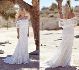 Wholesale Cheap Red Bridal Gowns - Simple Full Lace Country Boho Wedding Dresses Off The Shoulder Sweep Train Short Sleeves Cheap 2016 Beach Bohemian Bridal Gowns Plus Size DF