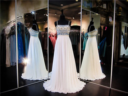 Wholesale Multi Color Beaded Pageant Dresses - Spaghetti Straps White Chiffon Prom Dress Multi Color Beaded Bodice A-line Evening Dress Long Pageant Dress Party Dress