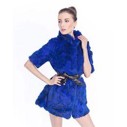 Wholesale Waist Fur Vests - Wholesale-Real Rabbit fur vest short-sleeve medium-long fur outerwear 2016 autumn and winter women with waist fashion long design female