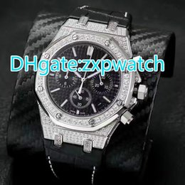 Wholesale Diamond Band Watches - Luxury Mens Watches Quartz Movement Chronograph Silver Diamond Zircon sapphire Top AAA Quality Full iced watch black leather band watch
