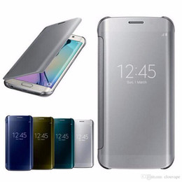 Wholesale Iphone Flip Smart Case - Mirror Flip TPU smart case for iPhone X 6 7 8 Plus Samsung S7 edge S8 Note8 smart clear view magnetic case cover