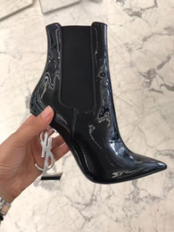 Wholesale Runway Boots - 2017 Brand Black Leather Ankle Boots Women Pointed Toe Letter Sheepskin high heeled Shoes Woman Fashion Runway Short Big size women's shoe