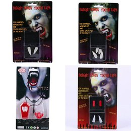 Wholesale Day White Teeth - 3Cm Halloween Masquerade Party Props Ghost Day Supplies White Teeth Cuspid Cosplay Party Use Vampire 2 Teeth