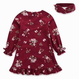 Wholesale Dress Full Sleeves Knee - Retail 2017 Autumn Girls Dresses Long Sleeve Floral Princess dress Fall Kids Clothes With Headband 6M-12Y E1703