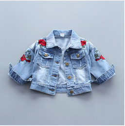 Wholesale Denim Jackets Toddler - Baby Girls Denim Jacket Vintage Jeans Jackets for Girl Toddler Baby Denim Jackets Girls Jean Jacket Rose Flower Embroidery