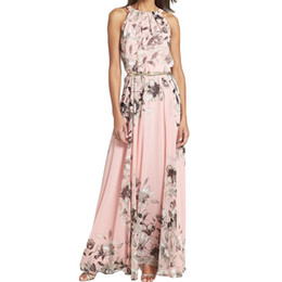 Wholesale Long Sleeve Floral Maxi - S5Q Women's Summer Sexy Floral Chiffon Beach Long Dress Maxi Evening Party Dress AAAFXD
