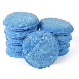 """Wholesale Microfiber Wax - 10-Pack 5"""" Diameter Soft Microfiber Car Wax Applicator Pads Polishing Sponges with pocket for apply and remove wax"""