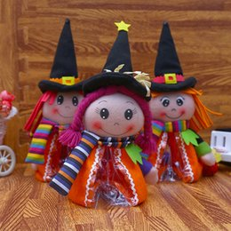 candy toy doll Promo Codes - Halloween Pumpkin Doll Creative Plush Toys For Halloween Decoration Children's Cartoon Doll BOX of Gift Candy