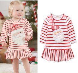 Wholesale Dress Christmas Xmas - 2017 Christmas Girls Baby Childrens Dresses Santa Striped Princess Dress for Girls Clothing Xmas Cotton Dresses Boutique Clothes