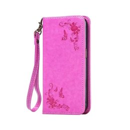 Wholesale Iphone 5c Tpu Case Flip - Strap Magnetic Suck Flip Leather Case For Iphone SE 5 5S 5C 6 7 I7 plus 6S 4 4S Flower Stand Wallet Pouch ID Card TPU Cover No Hasp 120pcs