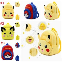 Wholesale Wholesale Pikachu Animal Backpacks - 23*21*9cm Cute Poke Pikachu Plush Backpacks Cartoon Pikachu Poke Ball Plush School Bags Children Stuffed Animals Backpack F777
