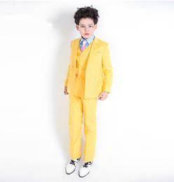 Wholesale Boys 4t Dress Pants - Wedding flower girl dress the boy yellow suit small double-breasted suit children performance clothing 3 pieces (jacket + pants + vest) mad