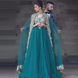 Wholesale Ladies Two Piece Evening Dresses - 2017 A-Line Muslim Evening Dresses With Cape Lace Appliques Two Pieces Prom Gowns Long Tulle Dubai Arabic Beaded Formal Dress for lady