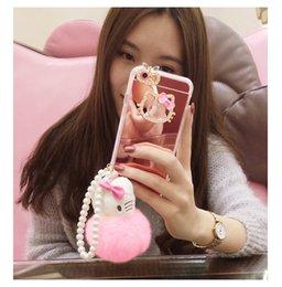 "Wholesale Etui Iphone - Etui for iphone 6 6s 4.7"" 6plus 6splus 5.5"" Hello Kitty Mirror Case Luxury Bling Diamond Soft TPU Mirror Capa Coque"