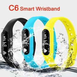 Wholesale Orange Sms Email - C6 Smart Wristband C6 Bluetooth 4.0 Heart Rate Monitor Call SMS Reminder IP65 Waterproof Mini Band with OLED Screen DHL OTH282