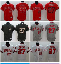 Wholesale Anaheim Angels Jersey Black - 2016 Men's Los Angeles Angels of Anaheim #27 Mike Trout Majestic Red Flexbase Authentic Collection Player Jersey High Quality Baseball Jerse
