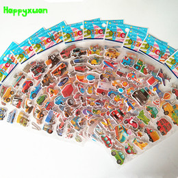 Wholesale Cartoons Cars Kids - Happyxuan 12 sheets Cartoon Car Puffy Stickers 3D Transport Tool Truck Plane Kids Early Learning School Teacher Reward Toy