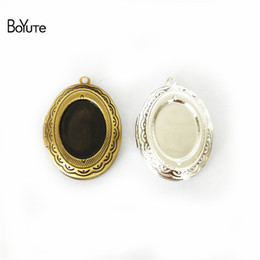 Wholesale Cabochon Trays - BoYuTe 10Pcs 6 Colors 22*29MM Locket Pendant Oval 13*18MM Cabochon Base Tray Floating Locket Necklaces Vintage Jewelry Accessories