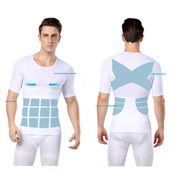Wholesale Fat Belly - Wholesale-M- XL Men Chest Shaper Bodybuilding Slimming Belly Abdomen Tummy Fat Burn Posture Corrector Compression Shirt Corset For Male