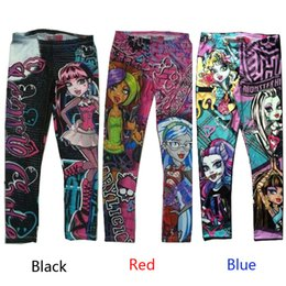 Wholesale Wholesale High Clothes - Wholesale-Monster High Printed printing Kids Girls Clothes Pants Childs cartoon Leggings Trousers Children's Casual Pants for 6-16y