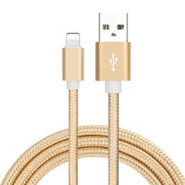 Wholesale Ipad4 Usb - Decatur Apple Data Cable 7Plus Silver Fast Charge Line 1m Long ipad4 Durable Alloy Braided Wire iPhone6S Cell Phone Cables