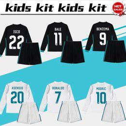 Wholesale Boys Shirts Long Sleeves - New Long Sleeve Soccer Jersey Kids Kit 17 18 Real Madrid #7 Ronaldo Home White Away Black Jerseys Child Soccer Shirts Uniform Jersey+Shorts