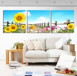 glass canvas Canada - Unframed 3 Pieces Free Shipping picture Canvas Prints Abstract tree Sunflower flower road chinese characters poetry Bamboo Wine Glass gourd