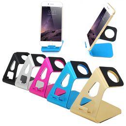 2019 s6 edge plus smartphone Atacado-desktop stand holder carregador para iphone 5 5s 6 6 s plus para samsung galaxy s5 s6 s6 borda smartphone relógio de alumínio doca de carregamento s6 edge plus smartphone barato