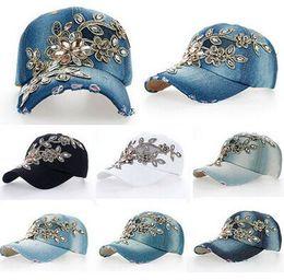 Wholesale Adjustable Cap Rhinestones - Fashion baseball cap crystal Rhinestone Floral woman snapback hats denim jeans hip hop women cowboy baseball cap