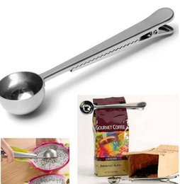 Wholesale Stainless Clips - New Arrive Stainless Steel Ground Coffee Measuring Scoop Spoon With Bag Seal Clip Silver