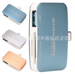2019 mini teléfonos móviles de china 3 In1 OTG / SD / TF USB Tipo C Mini OTG Lector de tarjetas Micro SD HUB Adaptador de teléfono móvil con Real Pack mini teléfonos móviles de china baratos