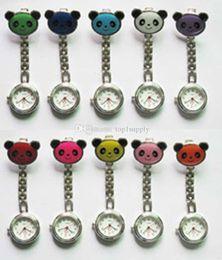 Wholesale Panda Pocket Watch - 100pcs lot The panda watches New Style Panda Nurse Watches Pocket hanging pocket watch Alloy Watch 10 color for choice---Yoyowatch2016