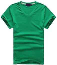 Camisa do pescoço do algodão v on-line-Frete grátis Hot 2016 100% algodão homens Com Decote Em V curto T-Shirt da marca homens camisas estilo casual para o esporte dos homens T-Shirt tamanho S-XXL