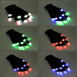 Wholesale Fingers Music - Flash Color changing LED Glove Rave light led finger light gloves light up glove For Party favor music concert free shipping