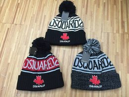 Wholesale Knitted Pompom Beanies - 2017 D2 letters Winter Cap with pompom winter women hat bone bonnet gorras dsq cap icon hat muts knitted beanies men skullies