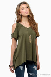 Wholesale Strapless Sleeved Shirt - V neck strapless short-sleeved irregular hem T-shirt 2017 Summer Women blouses tops t-shirts plus size LM-162