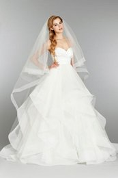 Wholesale Modest Taffeta Wedding Dresses - 2017 Modest Wedding Dresses with veil A line Tiered Hayley Paige ruffles tulle taffeta bridal gowns Simple sweetheart plus size wedding gown